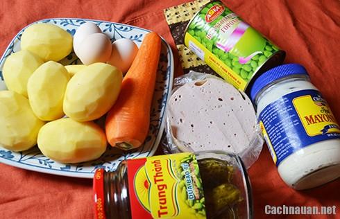 nguyen lieu lam salad nga - Mách bạn cách làm salad Nga ngon như ngoài hàng