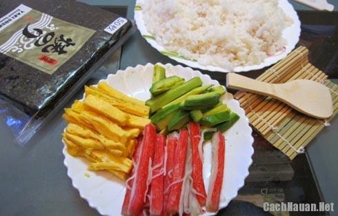 nguyen lieu lam sushi chien - Cách làm sushi Nhật Bản thơm ngon đúng vị