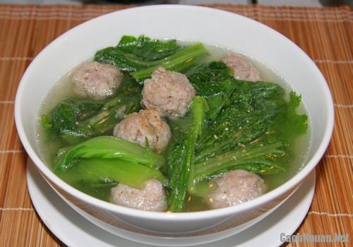 canh cai be thit vien 4 - Cách nấu canh cải bẹ xanh và thịt heo viên