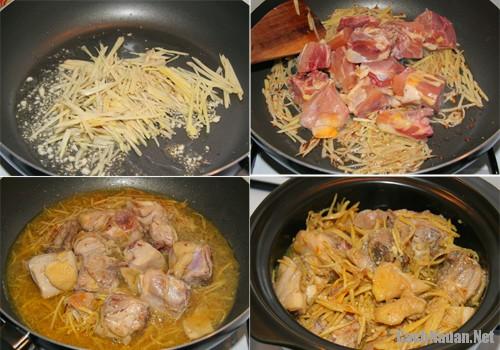 ga kho gung nghe 1 - Cách làm món thịt gà kho gừng, nghệ ngon cơm