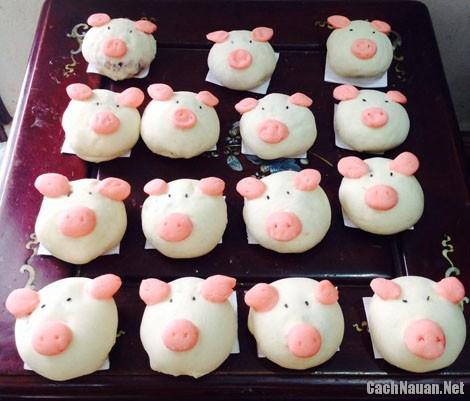 banh bao hinh lon 4 - Cách làm bánh bao hình lợn con dễ thương nhân thịt