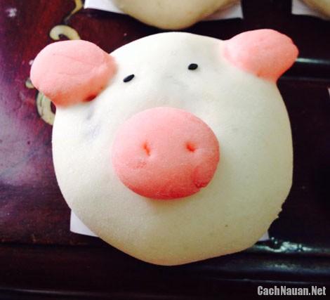 banh bao hinh lon con 1 - Cách làm bánh bao hình lợn con dễ thương nhân thịt