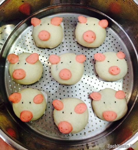 banh bao hinh lon con - Cách làm bánh bao hình lợn con dễ thương nhân thịt