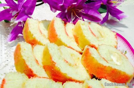 banh bong lan cuon 11 - Cách làm bánh bông lan cuộn hoa văn hấp dẫn