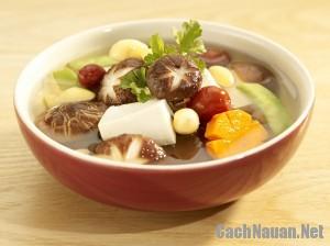 canh nam dau phu - Cách làm món canh nấm chay thanh tịnh, bổ dưỡng