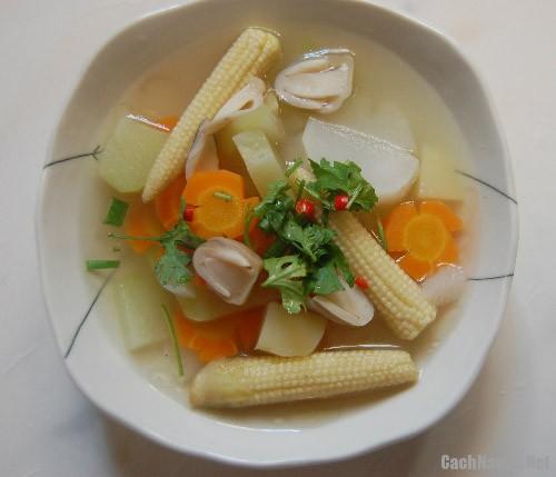 canh thap cam cu qua chay 1 - Cách nấu canh thập cẩm củ quả chay ngon ngọt