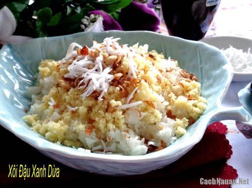 xoi dau xanh dua - Cách làm món xôi đậu xanh dừa kiểu miền Nam ngày xưa