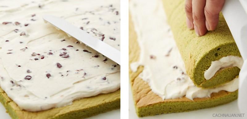 Cách làm bánh bông lan trà xanh cuộn kem tươi