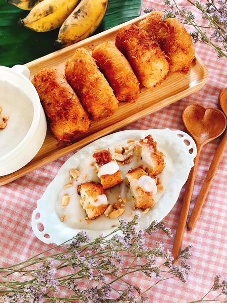 Cách làm món bánh chuối lăn dừa chiên giòn thơm