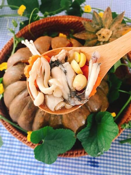 Cách làm món ếch hấp bí đỏ nhiều dinh dưỡng