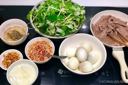 cach lam mon thit bo dau giam an kem rau cang cua 1 - Cách làm món thịt bò dầu giấm ăn kèm rau càng cua