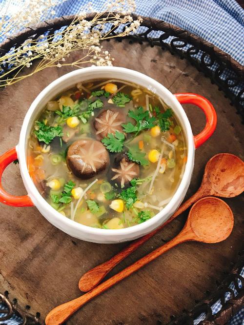 cach nau mon sup nam chay thanh tinh cho ngay ram - Cách nấu món súp nấm chay thanh tịnh cho ngày rằm